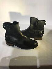Ugg Australia Ladies Black Leather Biker Boots Uk5/6 Ref Ba12