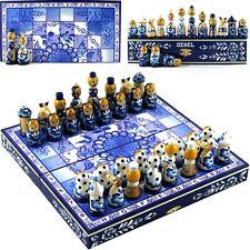 Chess Board Game Russian Dolls Set - Russian Gzhel Folk Art of Russia