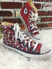 NWOB CONVERSE ALL STAR RED BLUE WHITE PEARL STUDDED ANKLE SNEAKERS SIZE 5.5