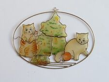 Cat ~ mother of pearl thin flat shell Christmas Ornament ~ 7 inch (C8)