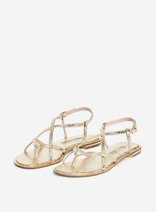 Dorothy Perkins Womens Gold Snake Print Fresh Flat Sandals Strap Open Toe Shoes