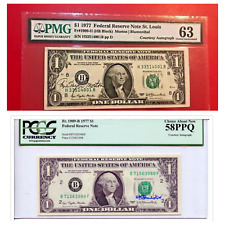 Two $1 bills one with courtesy signature on the left and other on right