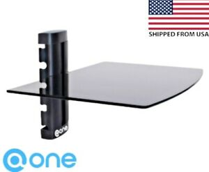 Floating Tempered Glass Shelf Stand Wall Mount Bracket For TV Box DVR DVD CABLES
