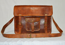 Men's Handmade Vintage Brown Leather Flap Messenger Laptop Satchel Shoulder Bag