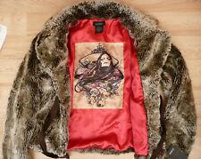 BNWT NEW Eivissa SIZE MEDIUM Mocha Brown Silver Red FAUX FUR Jacket Coat M 12 14