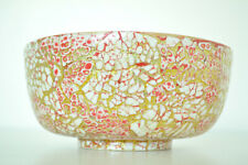 Handmade Decorative Bamboo Bowl Lacquer Inlaid With Eggshell Pink-Gold H071S