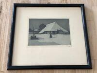 Vintage German Etching Print Evening House Snow Framed Signed