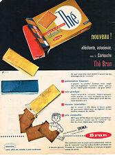 PUBLICITE ADVERTISING 114  1957  BRUN  biscuits THE en cartouche