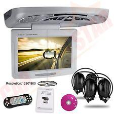 "Camper Van Car Roof Flip Down 11.3"" CD DVD Player Game XTRONS Grey IR Headphones"
