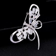 Dragonfly Silver Brooches Bouquet Pins Fashion Men Women Rhinestone Crystal Cz