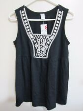 TARGET  size  10  Lovely Black With Cream Embroidery Detail SUMMER Top  $24.99