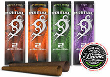 12 Packs of 2 - Variety Primal Herbal Cones. Non Tobacco Non Nicotine. 4 Smoking