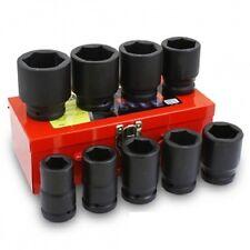 "10pc SAE Deep Impact Socket 1"" inch Drive Standard w/ Metal Case Set"
