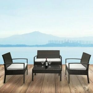 4 Pieces Outdoor Patio Furniture Sets Rattan Chair with Coffee Table Wicker Set