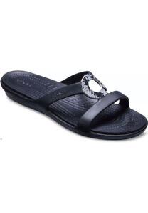 Crocs Sanrah Hammered Metallic Sandal Slide Women's Size 10 NWT