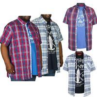 New Mens D555 Big King Size Short Sleeved Check Shirt With Pinted T-Shirt Combos
