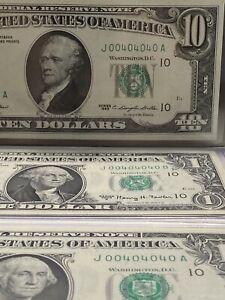 3of $10 1963/A/9  Kansas City notes MATCH BINARY,REPEAT 00404040 UNC Super Rare!