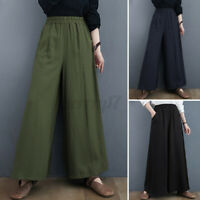 ZANZEA UK Women High Waist Wide Leg Pants Casual Loose Culottes Palazzo Trousers