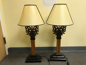 NATIVE Inspired EURO Plugs Wood PAINTED LAMPS Red Black with PARCHMENT SHADES