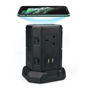 Tower Extension Lead Power Strip with 6 Way 4 USB & Wireless charging ability