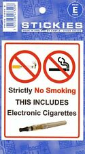 NO SMOKING THIS INCLUDES ELECTRONIC CIGARETTES STICKER 108MM X 90MM SHOP PUB