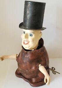 Antique Figural Toby Clockwork Nodder Key Wind Automaton Made in England, Signed