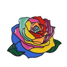 Brooch Badge Women Gifts Trend Jewelry Rainbow Flower Enamel Pin Multicolor Rose