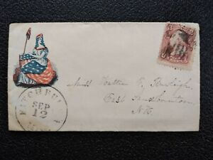 Civil War: Fitchburg, Mass 1860s #65 Lady Liberty Patriotic Cover to NH