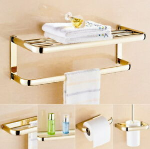Gold Brass Bathroom Accessories Bath Hardware Sets Towel Shelf Towel Bar Kxz005