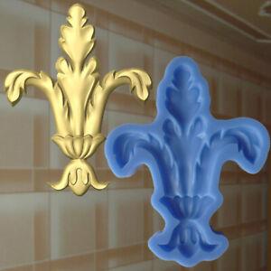 Gießform Stuck Französische Lilie Verzierung Silikonform Ornament Relief (146)