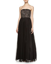 AIDAN MATTOX Black Brown Strapless Beaded Bustier Ball Gown 4 $440