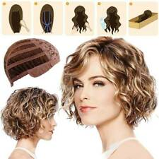 Charm Women Ladies Short Curly Wigs Fluffy Brown Mix Blonde Hair Wig with Bangs.