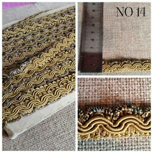 Vintage Upholstery Fabric Fringe Braid Trim Gold Matalic Sold by Metre