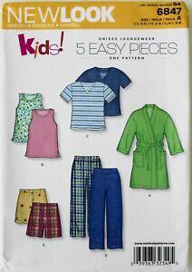 New Look 6847 Easy Boys Girls Loungewear Pajamas Robe Sewing Pattern Sz 3-8