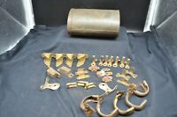 Metal Tin w/Vintage Hardware-Curtain Holders, Shade holders,Tacks,Brass Pieces++