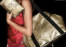 Victoria's Secret Compact Bag Weekender Tote Duffle Bag Gold