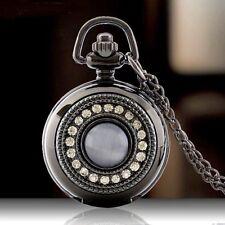 Stunning Black Crystal Mini Quartz Pocket Watch Pendant Necklace Xmas Gift Idea