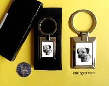 Border Terrier Dog Rectangular Chrome Plated Keyring Boxed Gift