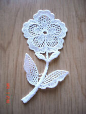 "4 x NEW Venise Lace Applique 4"" Flower Trim WHITE"