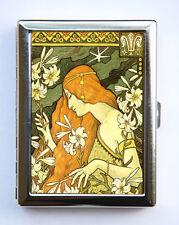 Art Nouveau Goddess Cigarette Case id case Wallet Business Card Holder flowers