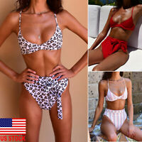 US Women High Waisted Bikini Set Push Up Bandeau Swimwear Swimsuit Bathing Suit