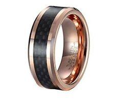 Men's Tungsten Ring Gold Plated w/ Black Weave Design Wedding Band