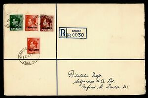 DR WHO 1937 BRITISH MOROCCO TANGIER OVPT REGISTERED TO ENGLAND  g19964