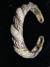 Silver Tone Bangle Bracelet With Rhinestones