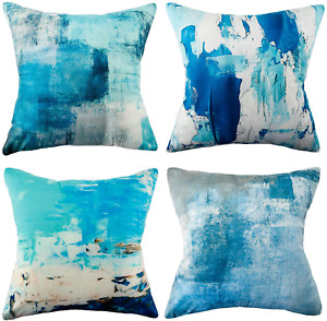 MAIXUN Decorative Pillow Cover Pillowcase for Couch 4 Pack Turquoise and Blue Pi