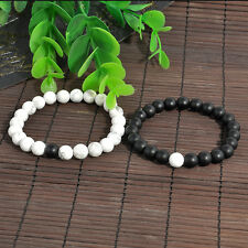 Stylish Balanced Howlite Matte Black & White Beaded Bracelets for Lovers Couple