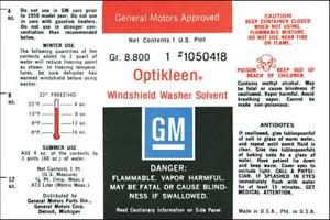 OER Opti-Kleen Washer Bottle Decal Buick Chevy Oldsmobile Pontiac Models
