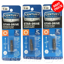 (New) CENTURY DRILL & TOOL #68430 T-30 Star-Drive  Screwdriver Bits Pack of 3