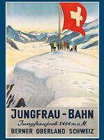 Jungfrau - Bahn Switzerland Suisse Swiss Vintage Travel Advertisement Poster