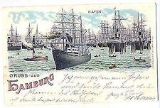 L 3 - Litho, Gruss aus Hamburg Hafen, Segelschiffe, Carl Garte Leipzig, 1899 gl.